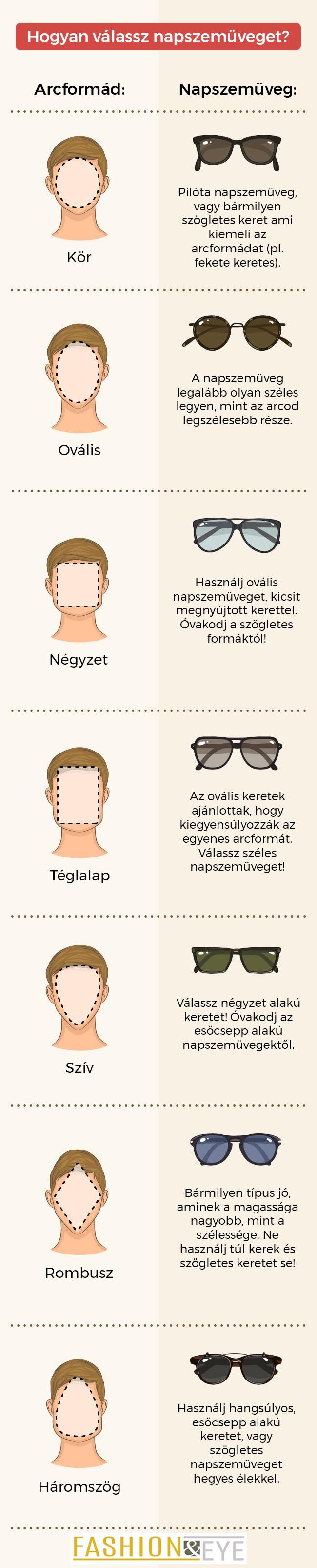 hogyan válasszak napszemüveget arcformámhoz
